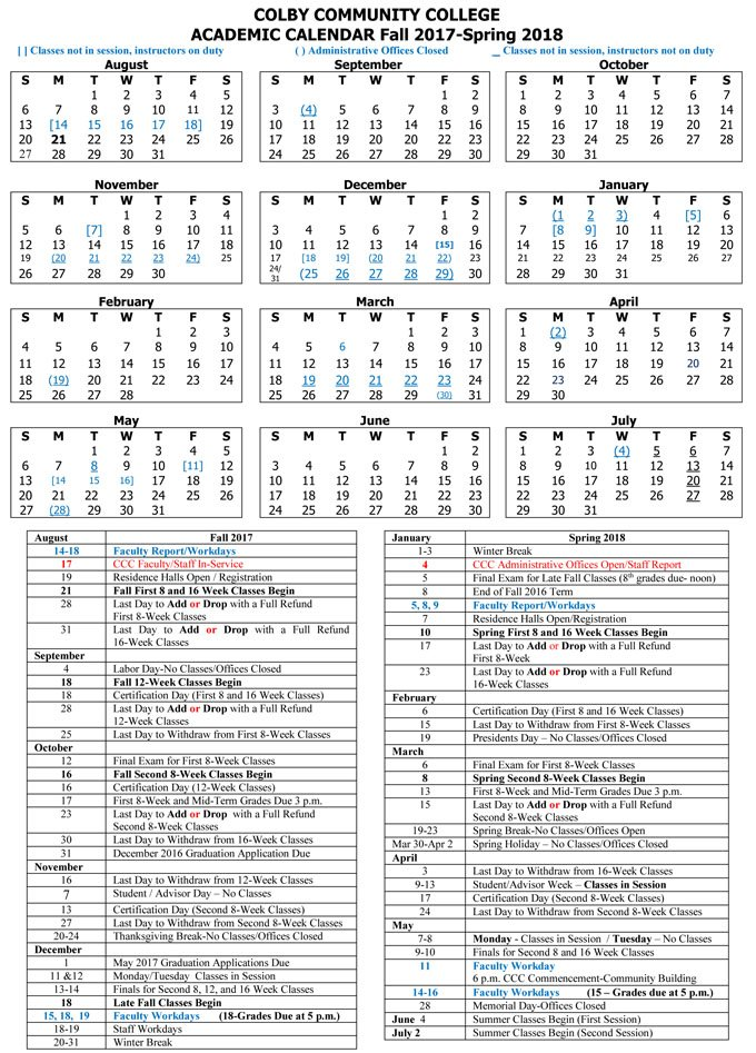 CCC Academic Calendar