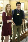 Jessica Houk and Gabe Schriner at the capitol in Topeka