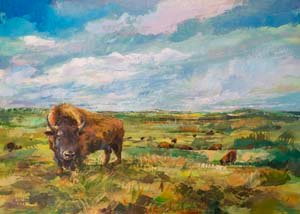 Dugan painting of a buffalo on the prairie.