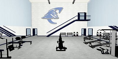 Architect's rendering of the Big Blue Barn Weight Room
