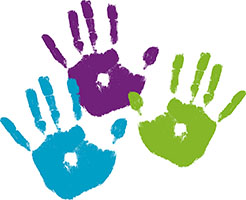 Imprints of children's painted hands