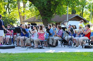 Community band performing in the park.