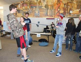 Ellis students participate in physical therapy demo.