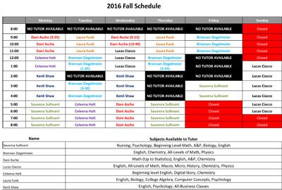 Fall 2016 Tutor Schedule