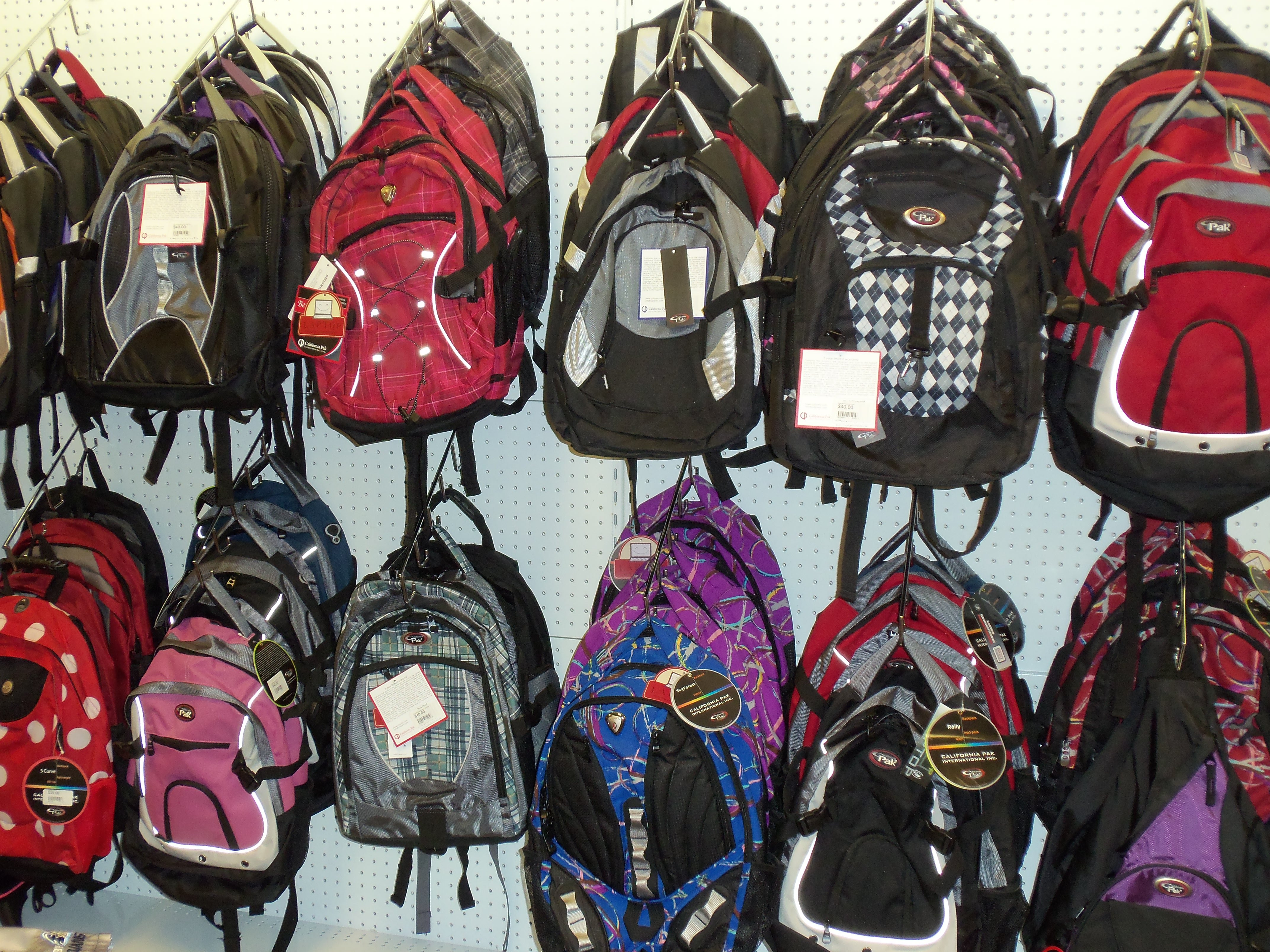 Backpacks for sale in bookstore.